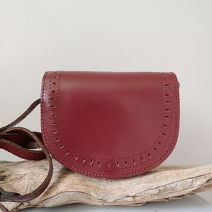 Vintage Handmade Leather Crossbody Purse Bag Red Small